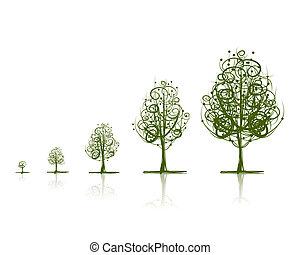 wachsen, design, stadien, baum, dein