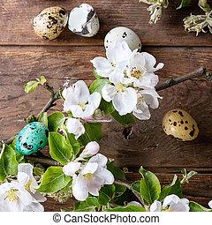 Wachtel, Eier, Ostern, bunte