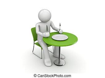wachten, karakter, hongerige , maaltijd