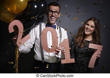 wachten, paar, eva, nieuw jaar