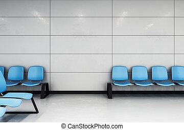 wachten, zaal, met, blauwe , stoelen