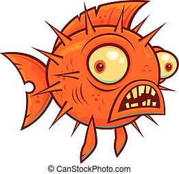 Vector cartoon illustration of a wacky pufferfish or blowfish.