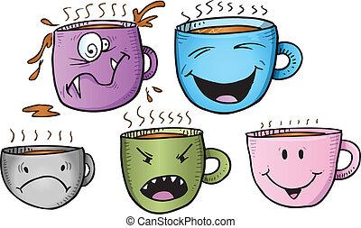 Wacky Coffee Cup Vector Set