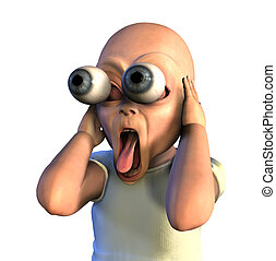 3D render of a shocked baby with his eyes popping out.
