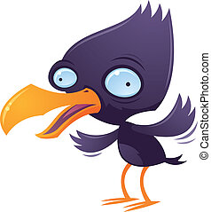 Vector cartoon illustration of a wacky squawking bird flapping his wings.