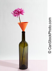wacky still life bottle and flower 1 - a single brown glass...