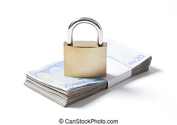 Wad Euros and Padlock on White