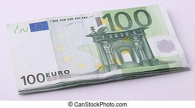 wad of 100 Euro bills - A wad of 100 Euro bills