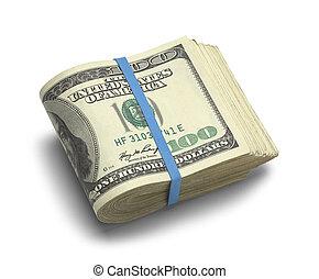 Big Stack of Folded Hundred Dollar Bills Isolated on White Background.