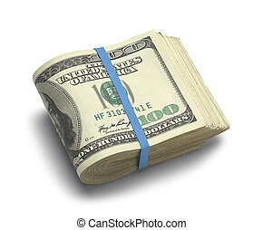 Wad of Money - Big Stack of Folded Hundred Dollar Bills...