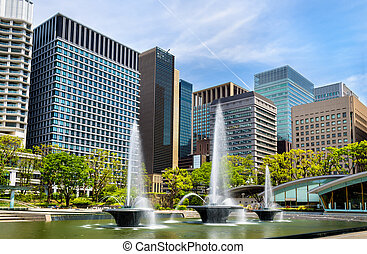 Wadakura Fountain Park in Marunouchi district of Tokyo