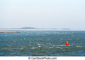 Beacon at the sea near wadden island Texel