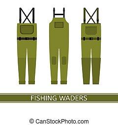 waders, pesca, isolato