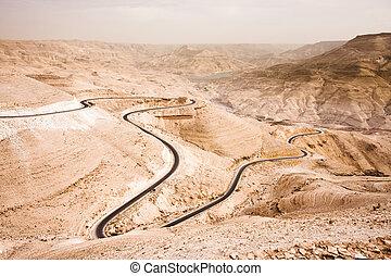 Wadi Mujib - the Jordan Grand Canyon - Massive canyon in the...