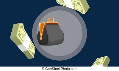 Wads of money falling down HD animation