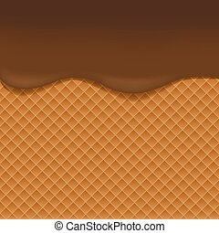 Wafer background with chocolate