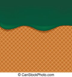 Wafer background with green jam