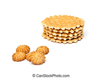 Wafer biscuits and cookie isolated on a white background.