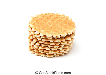 Wafer biscuits isolated on a white background.