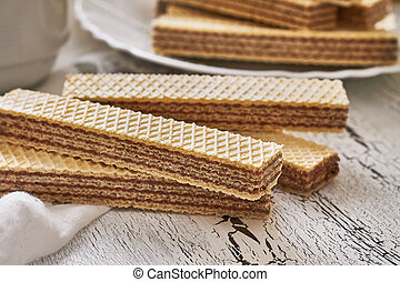 Wafer biscuits with chocolate cream