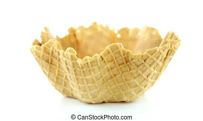 Wafer cup on white background.