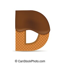 Wafer D letter with Melted Milk Chocolate. Vector...