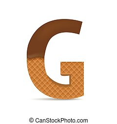 Wafer G letter with Melted Milk Chocolate. Vector...