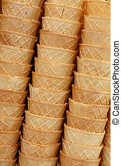 Wafer ice cream cone cornet cups close up