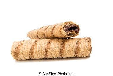 Wafer tubes with chocolate cream isolated