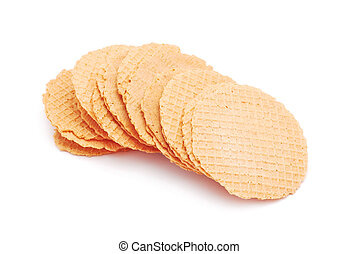 wafers stack on white background