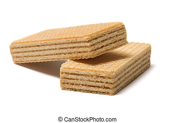 Wafers. - Two wafers close up it is isolated on a white ...