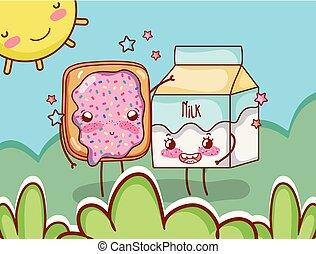 Waffle and milk box on sunny day kawaii cartoon
