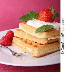 waffle and strawberry