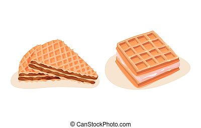Waffle and Wafer with Textured Surface and Filling Vector ...