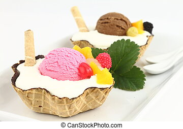 Waffle bowl with ice cream