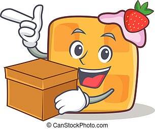 waffle character cartoon design with box