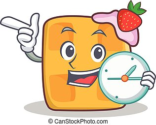 waffle character cartoon design with clock