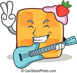 waffle character cartoon design with guitar