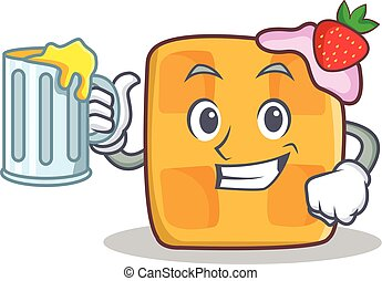 waffle character cartoon design with juice