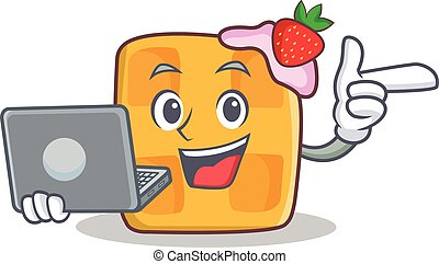 waffle character cartoon design with laptop