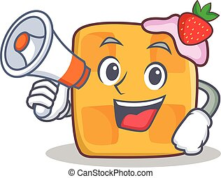 waffle character cartoon design with megaphone