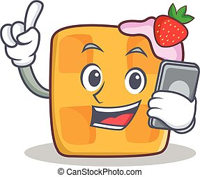waffle character cartoon design with phone