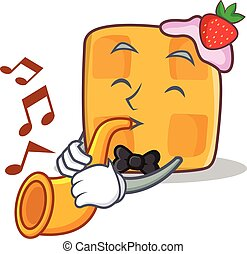 waffle character cartoon design with trumpet