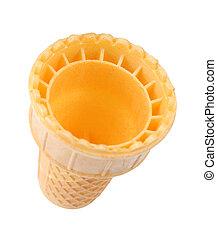 waffle cone isolated on white