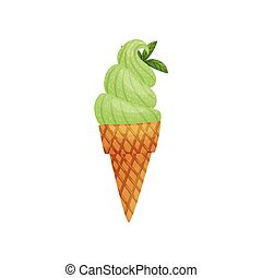 Waffle cone with ice cream. Vector illustration on white background.