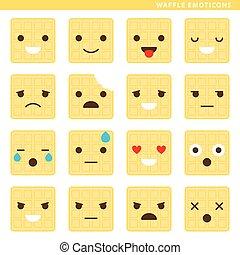 Waffle emoticons - Set of waffle emoticons with sixteen...