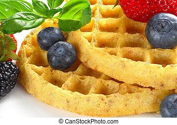 Waffle - Extreme close-up image of waffle and fruits served ...