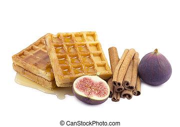 waffle, figs, cinnamon