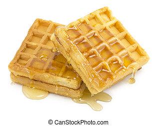 waffle, honey on white background