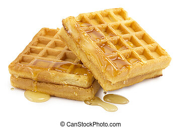 waffle, honey